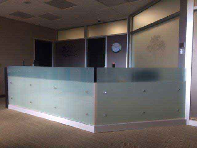 office reception areas. for a glass reception desk table shelf or wall in your area feel free to request complimentary estimate at office