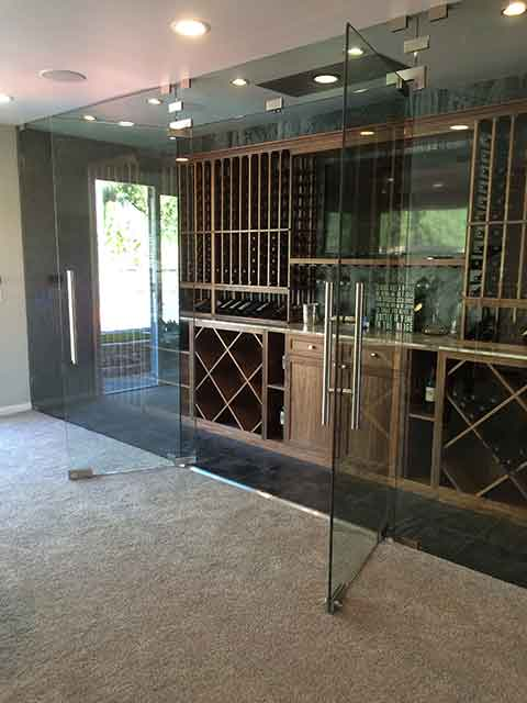 wine room glass door